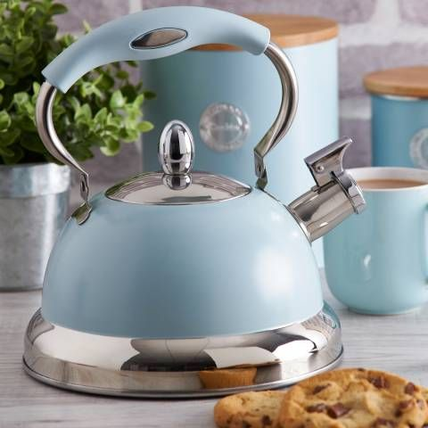 Typhoon Blue Stove Top Whistling Kettle 2 5l In 2020 Stovetop Kettle Kettle Steel Whistle