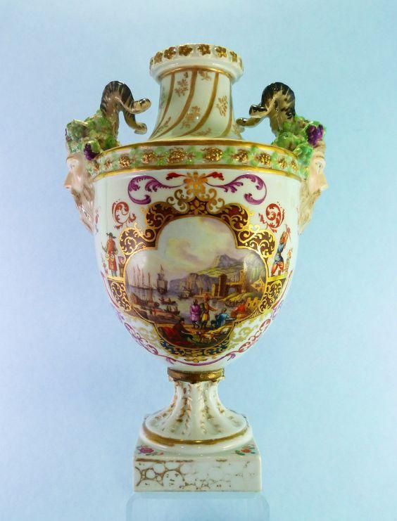 Antique Meissen Porcelain Hand Painted Vase early Augustus Rex mark | eBay