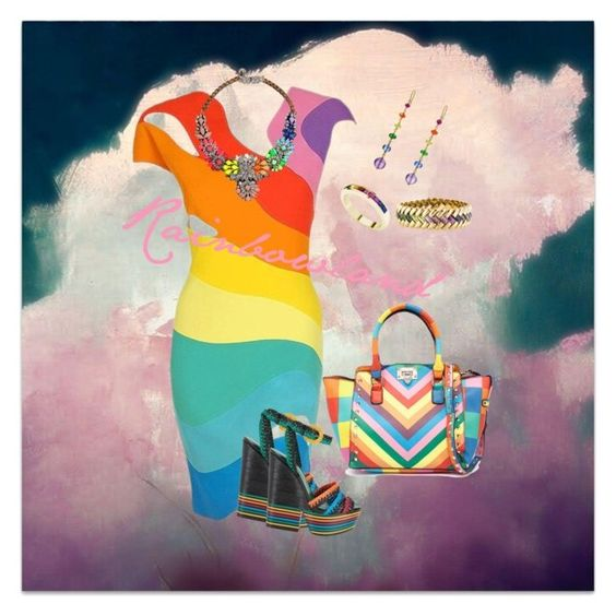 Rainbowland by monikaaens on Polyvore featuring polyvore fashion style Thierry Mugler Sergio Rossi H.Stern StyleRocks Mallary Marks clothing