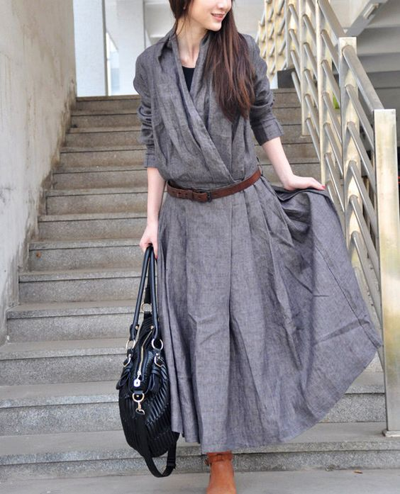 Linen Long Trench Coat Dress