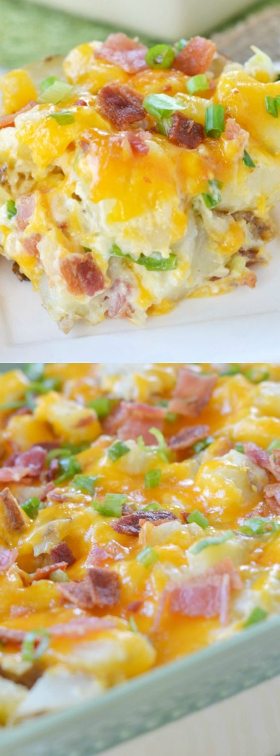 This casserole has all of your favorite flavors from a twice baked potato but in a deliciously fabulous casserole form – yum!