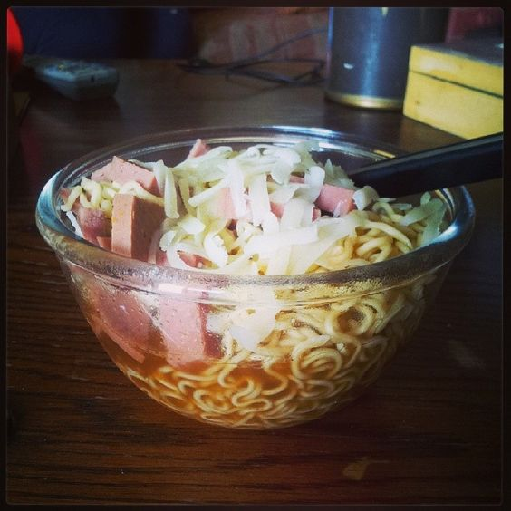 My special #noodles for today with #cheese and #meat ♥