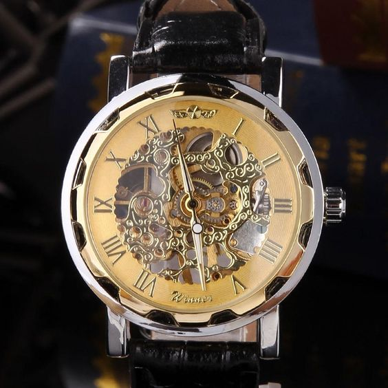 Classic Men's Black Gold Silver Leather Dial Skeleton Mechanical Sport Army Wrist Watch US $12.33