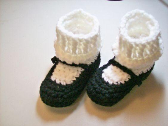 MaryJane  Booties -  Black. #baby #gifts #handmade