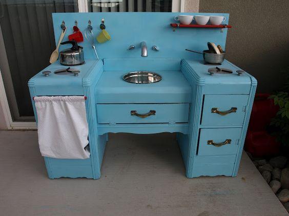 Old Dresser=Homemade Play Kitchen  welovebeingmoms.b...   #craft #DIY #kids