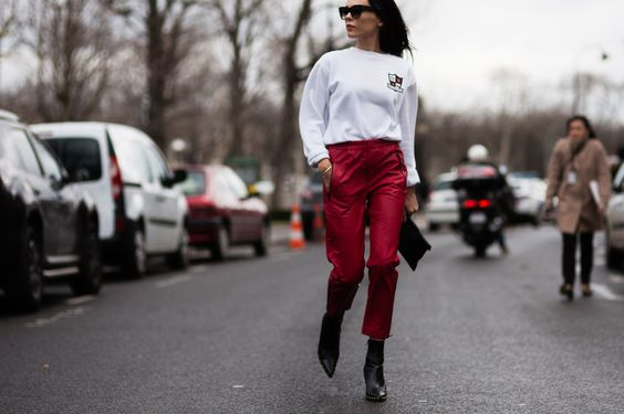 Red leather pants by Isabel Marant | STYLEHEROINE