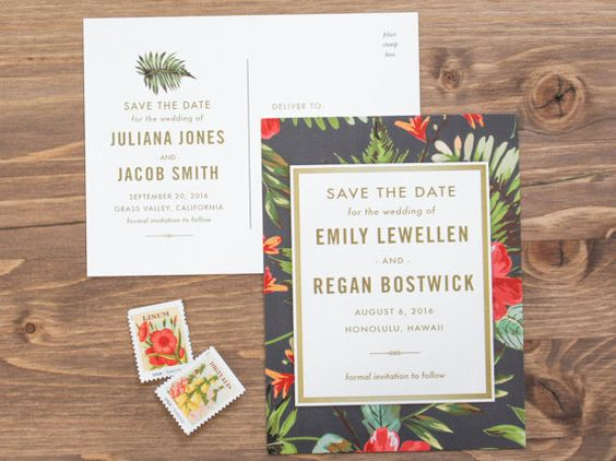 Tropical Save the Date Botanical Save the Date by BettyLuPaperie