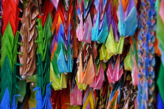 1000 Paper Crane Project  Hiroshima Memorial Peace Park. I remember making these when I was a kid, and reading about Sadako! I love this so much.
