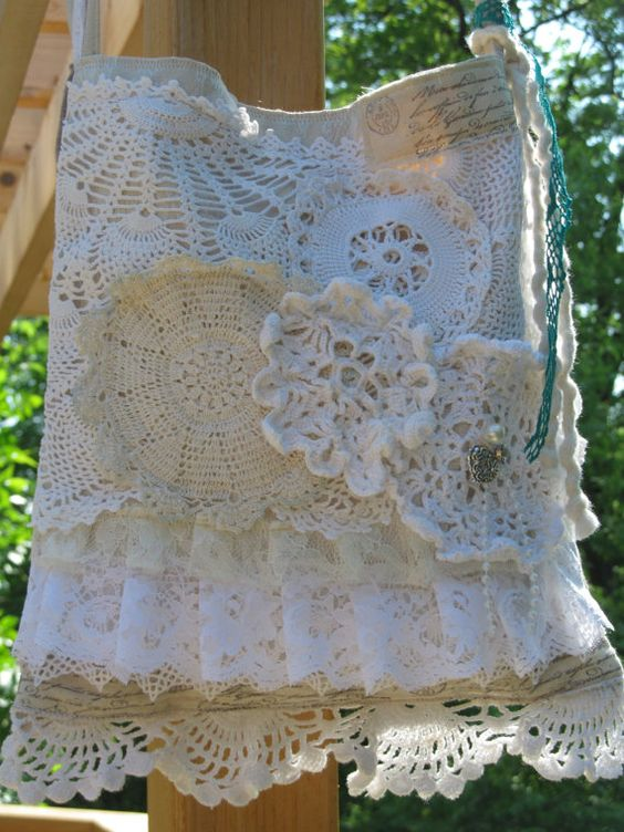 Romantic French Ruffle Bag  Chic Doily Tote  by TrendyCottage, $50.00