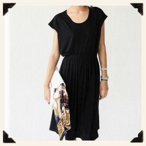 Black Pleat cotton dress