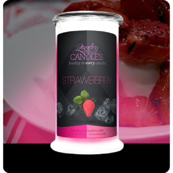 """https://www.jewelryincandles.com/store/lakenmeeks/p/58:c:90/all-jewelry-candles/strawberry-candle/ Boasting the juicy sweet scent of handpicked strawberries, with a touch of vanilla cream... this candle is truly """"fruit-tastic!!"""" Strawberry candles with jewelry. Full size 21oz jewelry candle - 100% all natural Soy candle burns for 100 to 150 hours. Jewelry in every candle."""