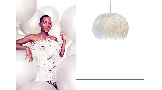 Lupita Nyong'o ignites a saturated color trend // Feather lamp #spring #trend #bright