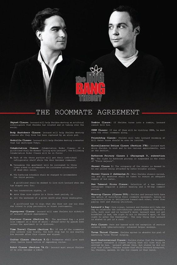 Sheldon's roommate agreement