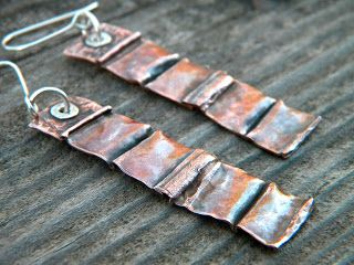 Cake and Jewelry: Fold formed copper with a heat patina