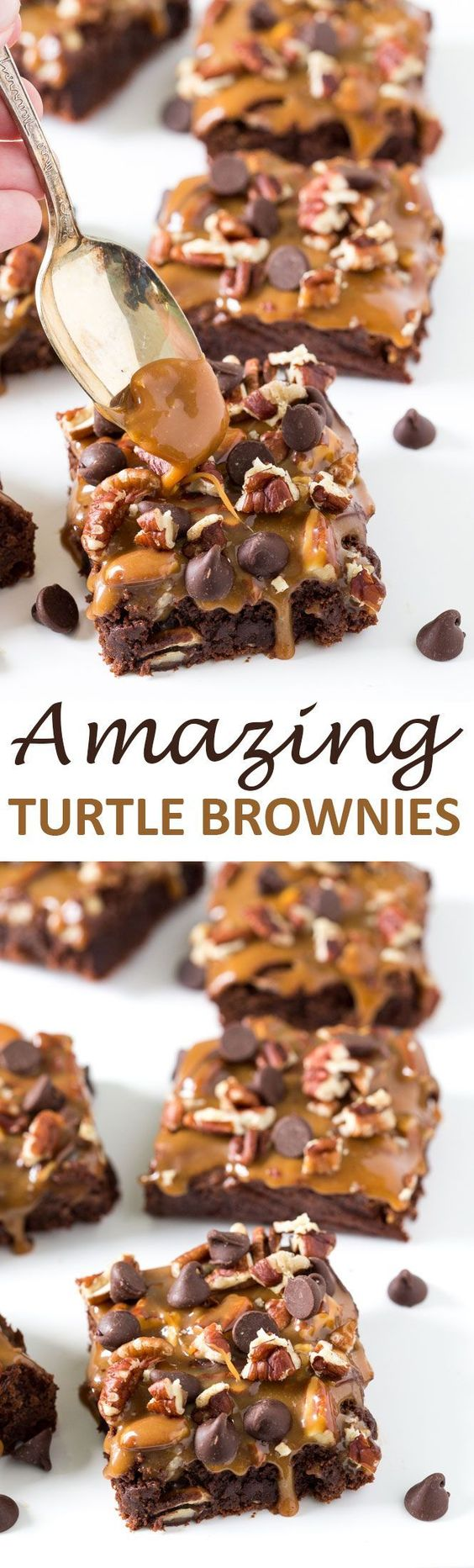 Amazing Thick and Fudgey Turtle Brownies layered with caramel sauce, pecans and…