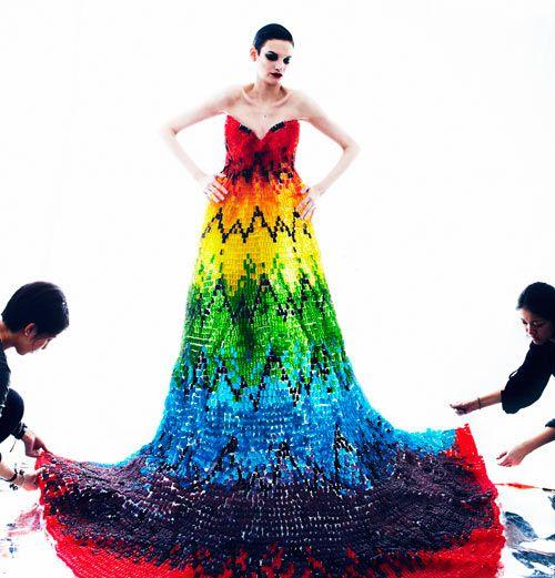 Alexander McQueen Rainbow Dress Recreated Using 50,000 Gummi Bears