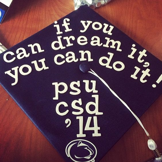 Communication Sciences and Disorders graduate Molly decorated her mortar board with an inspirational message. #PSUgrad