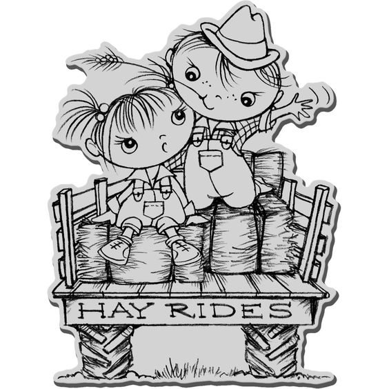 halloween rubber stamps | Hay Ride Kiddos Stampendous Halloween Cling Rubber Stamp CRR150