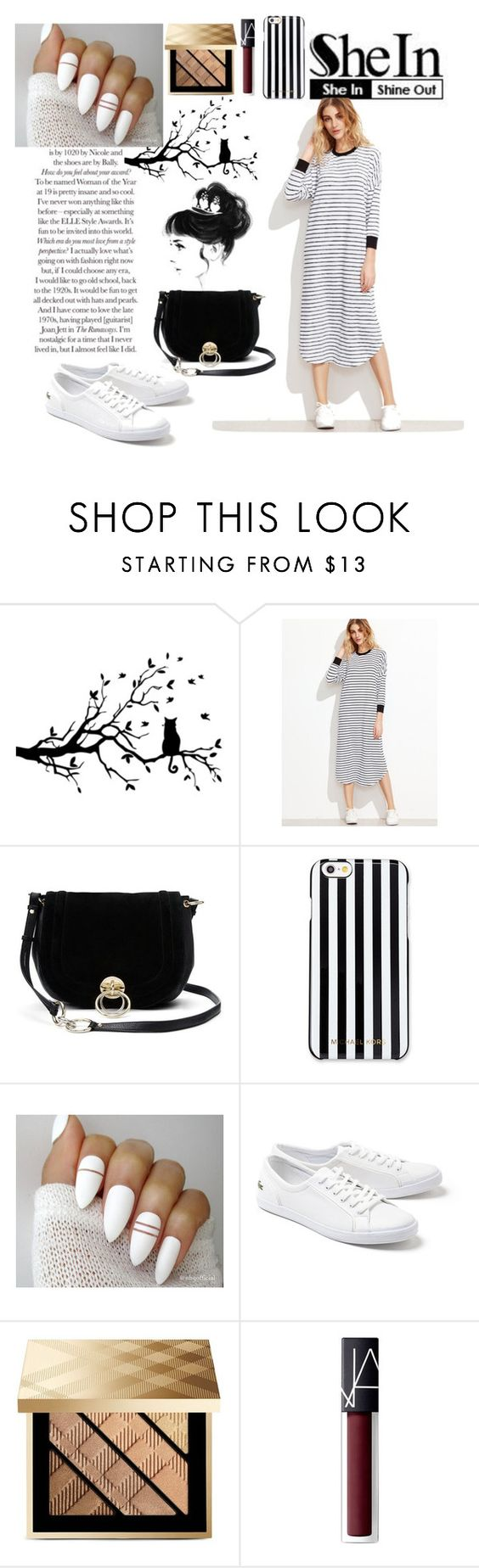 """""""SheIn-Contest"""" by abikaj ❤ liked on Polyvore featuring Diane Von Furstenberg, MICHAEL Michael Kors, Lacoste, Burberry and NARS Cosmetics"""