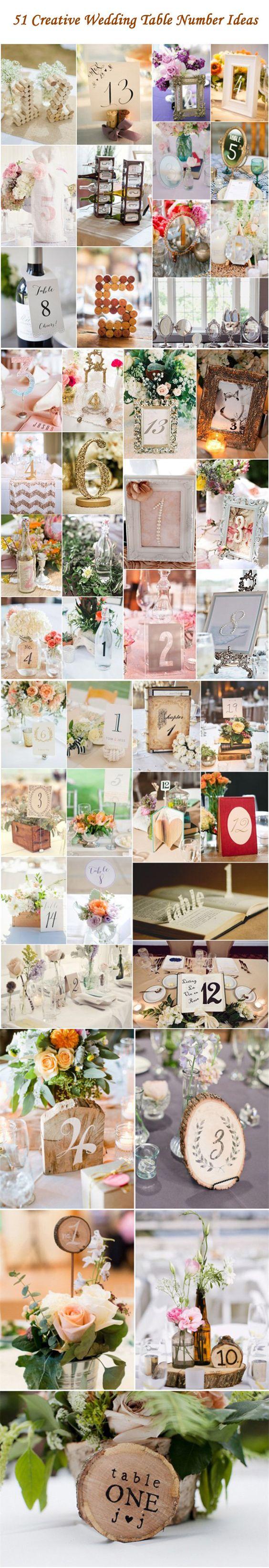 Wedding Decor ideas - 51 Creative DIY Wedding Table Number Ideas http://www.deerpearlflowers.com/51-creative-diy-wedding-table-number-ideas/