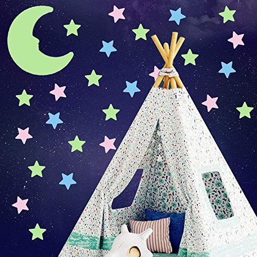 Kids Room Decor for Girls and Boys 3D Glow Stars and Moon for Starry Sky Gift. Glow in The Dark Stars for Ceiling AirXwills 200 Pcs Stars for Ceiling with Ultra Brighter Glow Moons Wall Decor