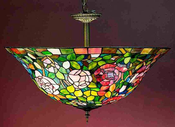 3 Light Tiffany Rosebush Semi Flush Mount