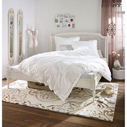Romantische Bettwäsche mit Rüschen 100% Baumwolle Weiß 135x200