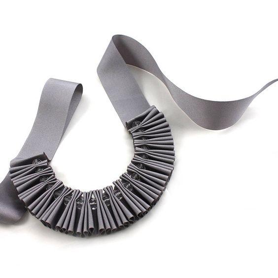 chunky crystal pleated ribbon necklace by maneggi | notonthehighstreet.com