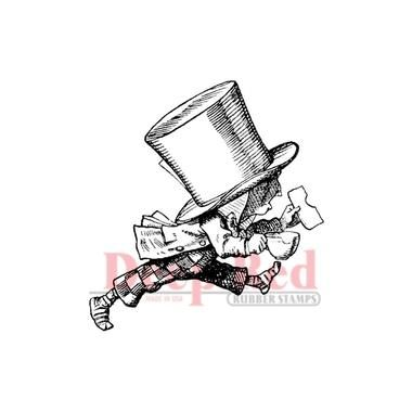 Deep Red Stamps - Mad Hatter running away