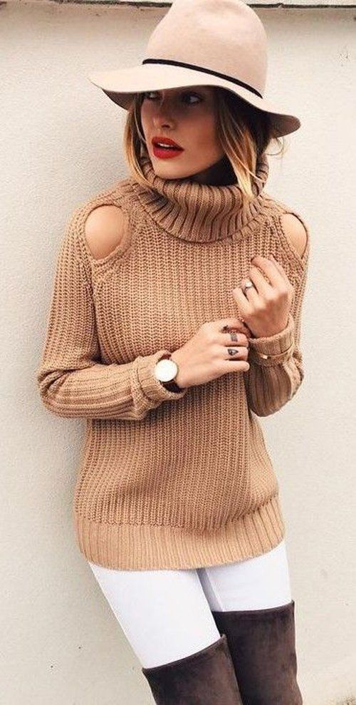 camel cold shoulder sweater / white skinny jeans / coffee boots
