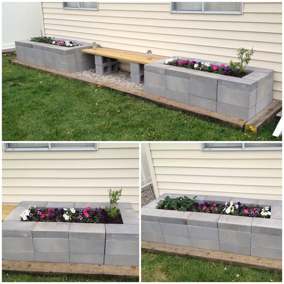 Cinder block raised garden bed with bench diy backyard for Concrete block landscaping ideas