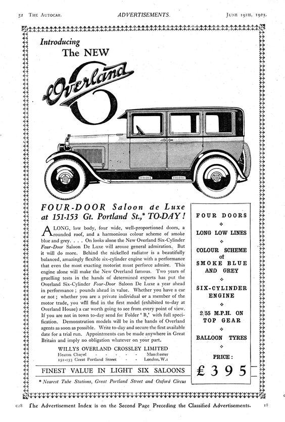 Oveland 6 Six Motor Car Autocar Advert 1925