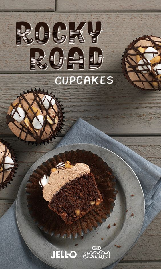 Chocolate, marshmallows and pudding make Rocky Road Cupcakes the most decadent dessert around. You'll need some JELL-O Chocolate Flavor Instant Pudding, JET-PUFFED Miniature Marshmallows, BAKER'S Semi- Sweet Chocolate, peanuts, cake mix and a few other ingredients. Take a yummy ride on the rocky road and repin these cupcakes!