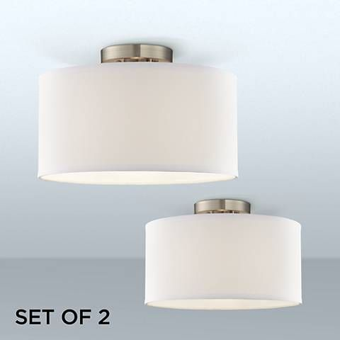 Adams White Fabric Drum Shade Ceiling Lights Set Of 2 38m32