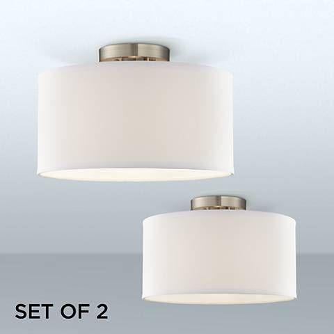 Adams White Fabric Drum Shade Ceiling Lights Set Of 2 38m32