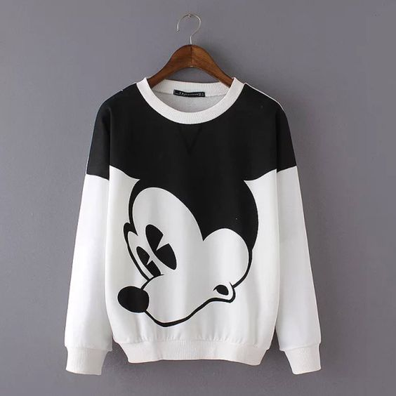 Ladies Cute Mickey Cartoon Print O Neck Long Sleeve Pullovers ...