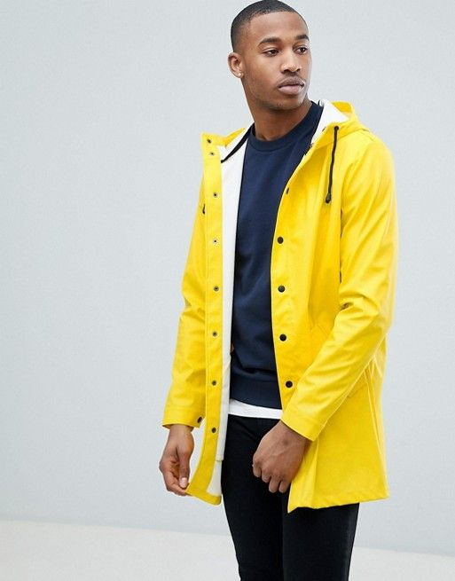 classic shoes professional sale latest releases DESIGN shower resistant rain coat in yellow in 2019 | Mens ...