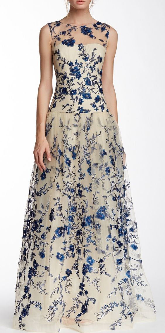 Marchesa illusion neck floral embroidered gown for Off the rack wedding dresses near me