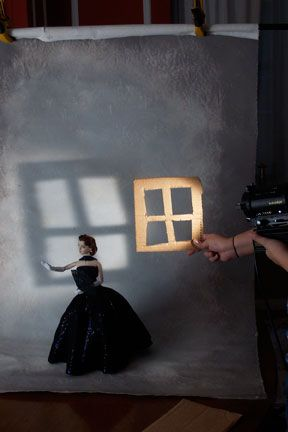 """Making a """"gobo"""" for lighting effect. Seen in In Focus: Digital Photography for The Doll Collector."""