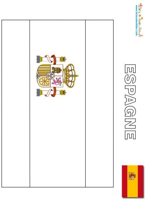 coloriage Espagne : coloriage drapeau