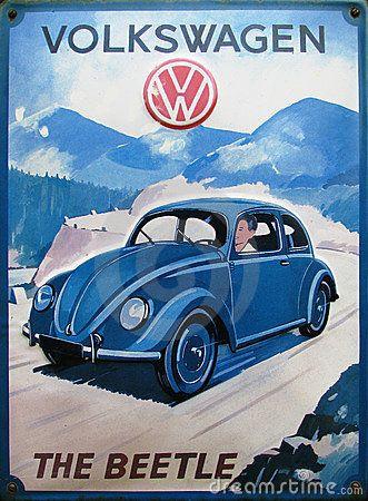 Stock Photo: Old advert of volkswagen beetle