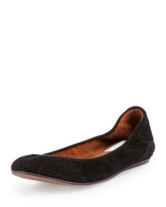 Suede Topstitched Ballet Flat, Black by Lanvin at Neiman Marcus.