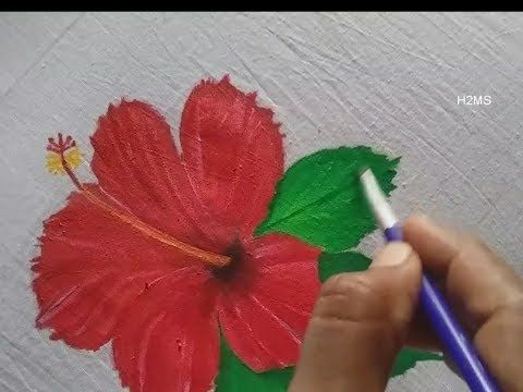 1 How To Make Simple Hibiscus Flower Fabric Painting Very Easy