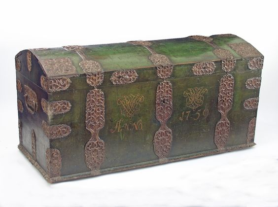 A Spanish marriage chest, green painted and with pierced metal mounts and banding, SOLD for £900 @ Chorley's
