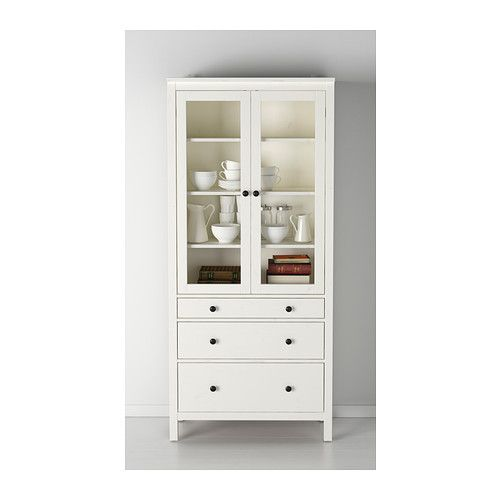 Hemnes glass door cabinet with 3 drawers white stain for Ikea kitchen cabinet doors solid wood
