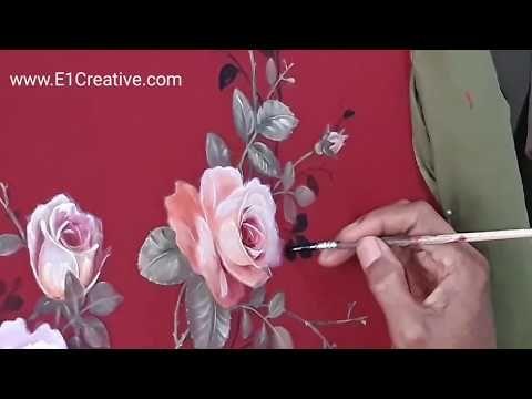 Melukis Desain Bunga Mawar Dibaju Kain Merah Finishing Background Daun Kecil Kecil Berwarna Hitam Youtube Desain Bunga Warna Bunga