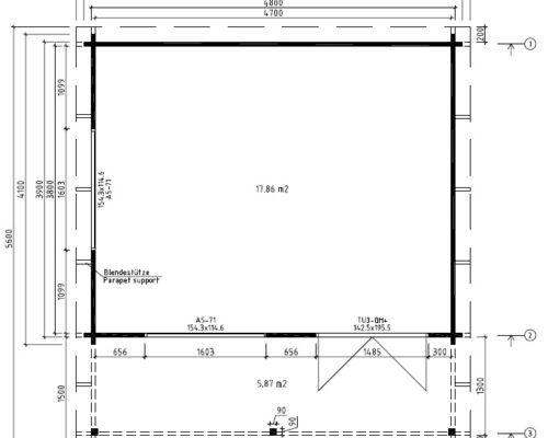 Holz Gartenhaus Mit Vordach Ian C 18m 58mm 4x5 Gartenhaus Vordach Dach