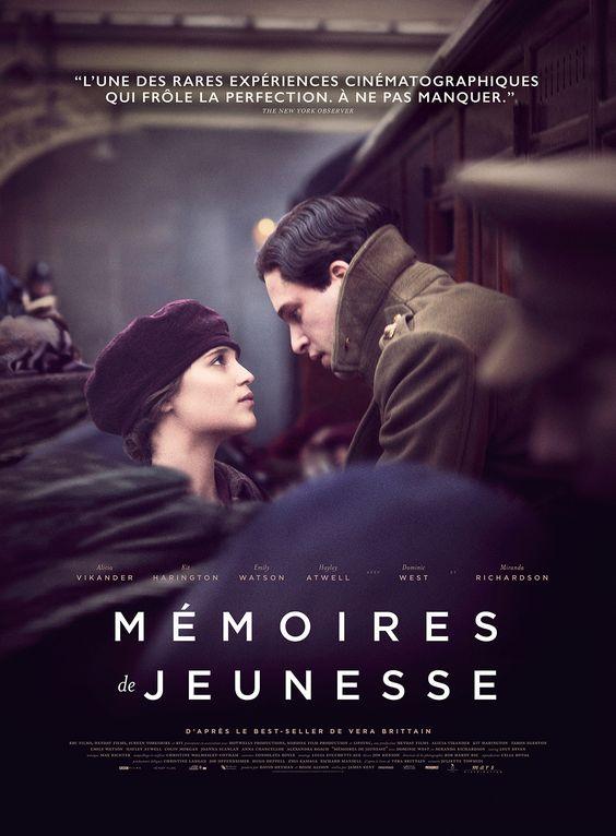 Mémoires de jeunesse est un film de James Kent avec Alicia Vikander, Kit Harington. Synopsis : Printemps 1914. Jeune femme féministe à l'esprit frondeur, Vera Brittain est résolue à passer les examens d'admission à Oxford, malgré l'hostilité de