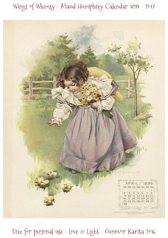 Wings of Whimsy: Maud Humphrey Calendar 1899 #vintage #ephemera #freebie #printable #calendar #maud #humphrey: