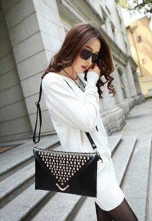 2013 women's fashion handbag punk rivet envelope bag clutch bag day clutch one shoulder cross-body bag small